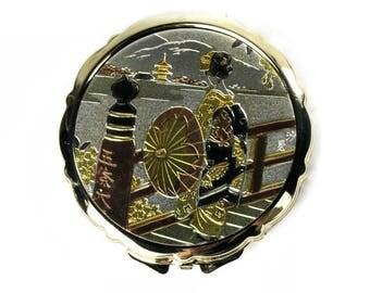 Vintage Eisho Gold Toned Metal Cosmetics / Powder Compact Mirror Made in Japan Japanese Scene Geisha Girl w/ Umbrella New