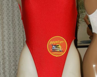 Red Baywatch style swimsuit with Logo on suit
