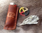 handmade leather bic lighter case with bear stamp, lighter pouch, lighter case, leather bic cover, third anniversary