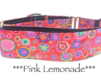 Martingale Dog Collar, Dog Collar, Adjustable Dog Collar, Custom Dog Collar, Retro, Modern, Geometric, Bright, Pink Lemonade