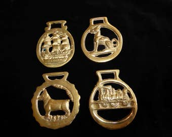 Four Vintage Horse Brass  Medallions Made in England  Lot D