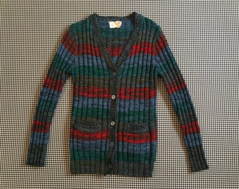 1970's, rib knit cardigan, in heathered stripes of red, greens and blues, Women's size Small