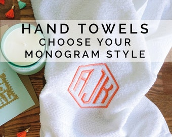 Personalized Hand Towels, Set of 2, Newlywed, Christmas Gift, Wedding Gift, His & Hers Monogram, Monogrammed Gifts, Hand Towels