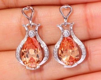 Gorgeous Morganite Silver Earrings Perfect Gift