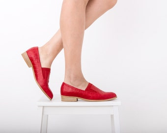 Red shoes Pointy flats Slip-Ons leather women's shoes, handmade ADIKILAV