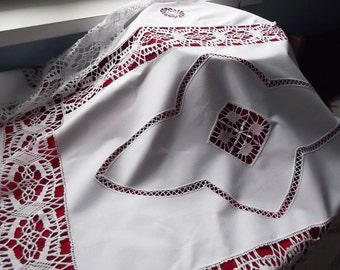 Vintage Big Handmade White Cotton Tablecloth. Crochet Insertions And Lace.  Polish Vintage.