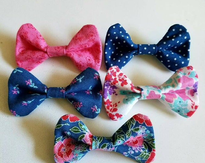 Set of 5 Girl Pink and Blue Floral Polkadot Bow Hair Bobby Pins