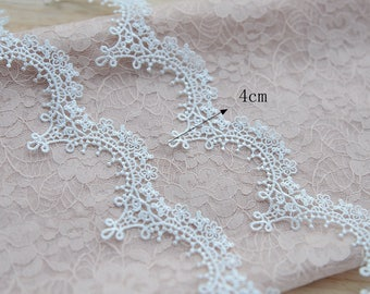 5 yards thin venice lace trim in white, crochet bridal veil wedding trim lace