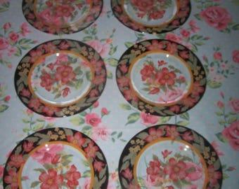 6 flowers ARCOROC dessert plates - vintage