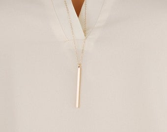 Rose gold bar necklaces | Skinny bar necklace, Long vertical bar necklace, Simple layering necklace silver, Thin chain bar necklace