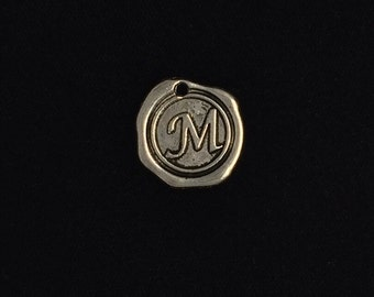 "Wax seal initial charm ""M"" 2 pieces antique silver finish, M initial charm 19-21-AS-M"