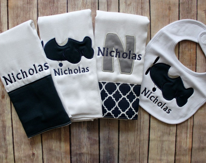 Monogrammed Baby Boy Gift, Monogrammed Boy Burp Cloth, Personalized Baby Boy Gift, Airplane Baby Gift, Airplane Burp Cloth, Navy Grey Baby