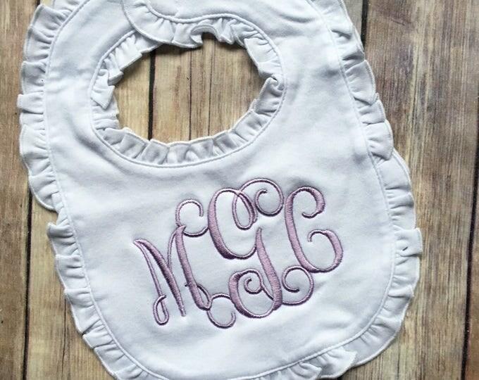 Monogrammed Ruffle Bib, Monogrammed Bib, Monogrammed Baby, Personalized Monogram Bib, Ruffle Bib with Monogram, Monogrammed Bib Baby Girl