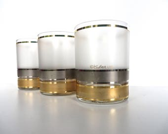 Vintage Culver Frosted Rocks Glasses, Set Of 3 Mid Century Silver And Gold Scotch Glasses, 22kt Hollywood Regency Gold Barware