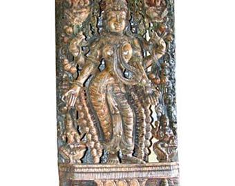 Antique Lakshmi Statue Holding Lotus Temple Sculpture Supreme Goddess of Money, Power