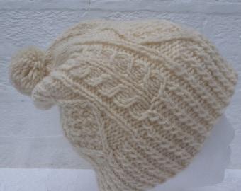 Womens hat cable knit head accessory winter aran beanie hat chunky gift handmade 1990s knit urban cap indie rustic beanie mens hat handmade.