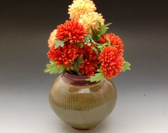 Handmade Stoneware Pottery Vase Red and brown by Mark Hudak