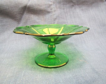 Green Glass Pedestal Bowl , Compote, Fruit Bowl, Candy Dish, footed bowl,