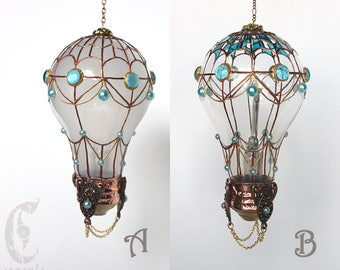 Decorative Ornament Stained Glass Light Bulb Hot Air Balloon with Blue Aqua Decorations Holiday Christmas