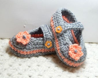 Mary Jane Booties-6 Weeks-3 Months-Gray & Peach-Crocheted-Handmade with love.