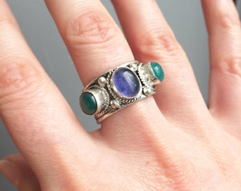 ON SALE Tibetian Gemstone Adjustable ring Bohemian jewelry Gypsy jewelery