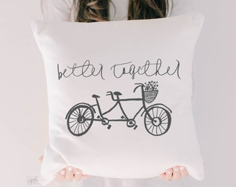 Throw Pillow - Better Together, calligraphy, home decor, wedding gift, engagement present, housewarming gift, cushion cover, throw pillow