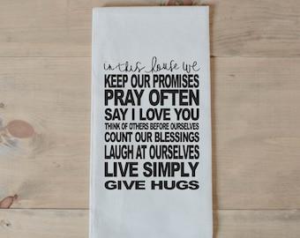 Tea Towel, Family Rules, present, housewarming gift, wedding favor, kitchen decor, women's gift, flour sack dish cloth