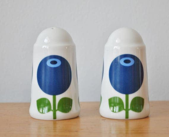 Swedish Blueberries Salt & Pepper Shakers Scandinavian Modern