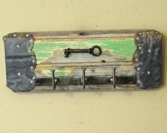 Wall Key Holder with Real Skeleton Key on Vintage Bead Board - Shabby Chic Key Rack