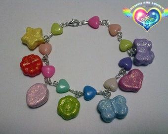Rainbow Charm Bracelet // Kawaii bracelet // Kawaii jewelry // Fairy kei // Mahou kei // Sweet lolita // Decora // Pastel kei // Yume kawaii