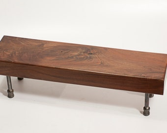 Walnut Table Stand | Riser Table Slab Wood | Industrial Pipe Legs