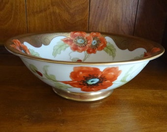 Antique Picard Poppy Bowl artists signed Loh