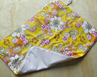 Flower power retro pattern wipeable baby change mat cover. change mat cover. nappy wallet change mat