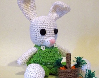 Amigurumi Bunny, Crocheted Bunny doll, dressable, White Bunny Rabbit, green overalls with basket of carrots