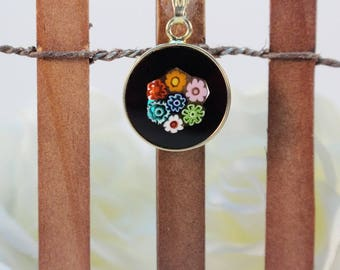 14mm Murano Millefiori Lampwork Glass Pendant 24K Gold Plated Silver Black Flowers G3