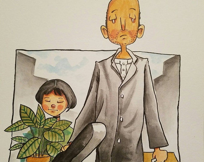 Ink and Watercolor -  Leon and Matilda - the Profesional