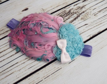 Handcrafted Aqua Pink and Lavender Vintage Style Baby Headband - Feather Headpiece - Roaring 20s Hair Accessory - Heart Toddler Bows -Easter