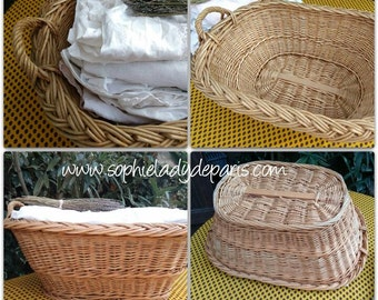 Vintage French Wicker Basket Hand Braided Laundry Basket Oval Shape Handled Storage Container Farmhouse Homedecor #SophieLadyDeParis
