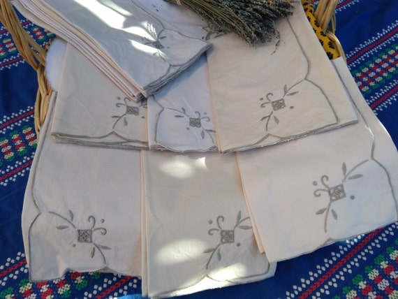 6 Vintage French Off White Cotton Napkins Handmade Beige Hand Embroidred #sophieladydeparis