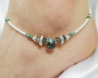 Anklet Ankle Bracelet Sterling Silver Anklet Green Amethyst Labradorite Gemstone Anklet Gemstone Jewelry Beach Anklet Green Anklet Sage