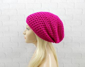 Neon Fuchsia Crochet Hat, Vegan Slouch Hat, Oversized Hat, Slouchy Beanie, Womens Hat, Crochet Slouchy Hat, Winter Hat, Pink Crochet Beanie