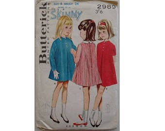 """Vintage 60's Butterick 2989 Girls' Front Pleated A Line Dress 3 Options Bust 24"""""""