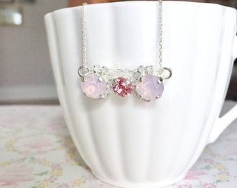 Crystal Bar Necklace | Crystal Cluster Necklace | Opal Crystal Jewelry | Rosewater Opal | Crystal White Opal Pendant | Sterling Silver Chain