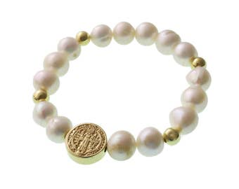 Saint Benedict Bracelet/ Pearl Bracelet/Brass Charm/ Elastic Bracelet/ Catholic/ Religious/ San Benito