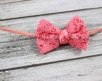 RTS Coral crochet bow headband {baby headband, lace bow headband, simple headband}