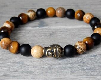 Mens Buddha Bracelet, Mens Multi-Gemstone Bracelet, Mens Stone Bracelet, Mens Tiger Eye Bracelet, Mens Bracelets, Man Bracelet