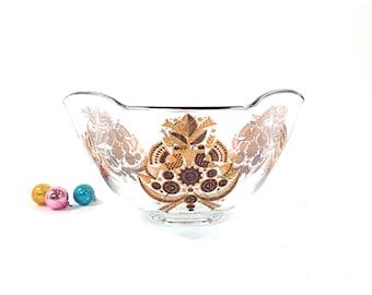 Mid Century Georges Briard Gold Glass Bowl / 2 Quart Salad Serving Bowl / Sonata / Partridge Pear Tree / Birds / 1960s