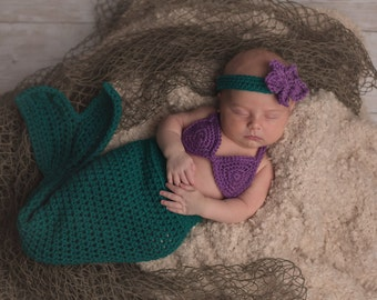 The Little Mermaid Tail Set - Includes Tail, Bikini Top & Headband /Newborn / Sitter Session / Sizes Newborn - 12 Months **MADE TO ORDER**