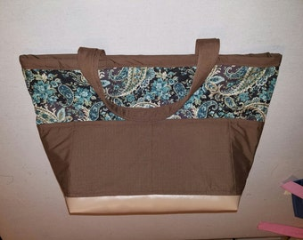 Large Travel Tote - Browns and Teals