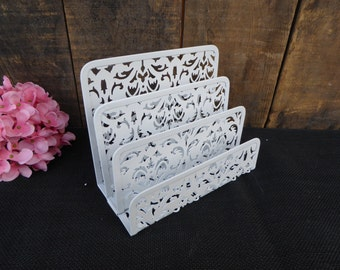 Hand Painted Metal Mail Letters Paper Sorter Divider Office Organizer Caddy  ~ Solid White Diecut Elegant Romantic Country